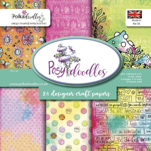 "6x6"" Paper Twin Pack - Posy Doodles"