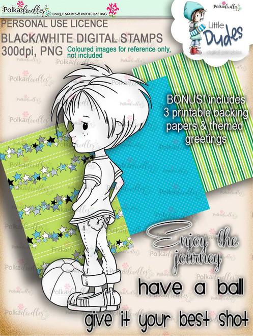 Play Ball, dude - digi stamp printable download