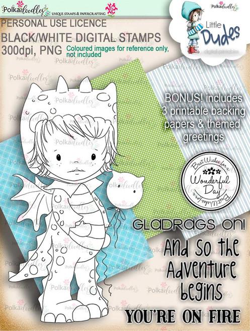 Dragon Onesie Little Dude - digi stamp printable download