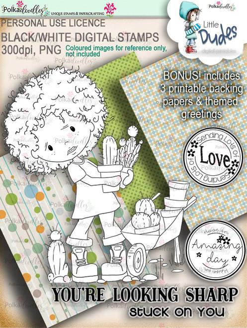 Prickly Little Dude - digi stamp printable download