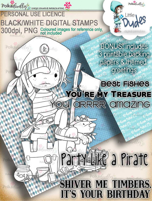Pirate Little Dude - digi stamp printable download