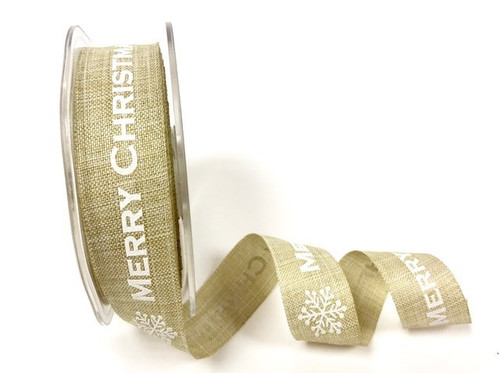 Natural Merry Christmas Snowflake Faux Linen ribbon x 1 metre 25mm
