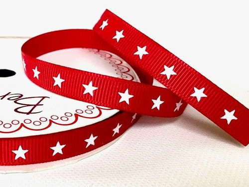 White Star/Red ribbon x 1 metre 9mm
