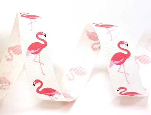 Bright Pink Flamingo ribbon x 1 metre 16mm