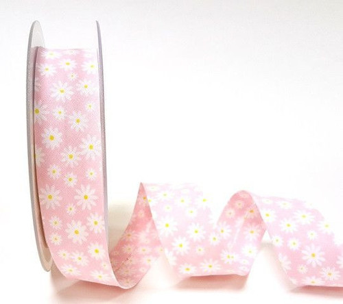 White Daisy/Pink Polycotton Bias Binding ribbon x 1 metre 30mm