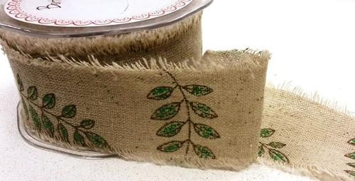 Bertie's Bows Leaves Burlap Ribbon x 1 metre 50mm