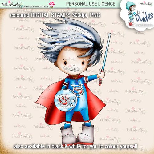 Superhero - PRECOLOURED - Little Dudes digi stamp printable download