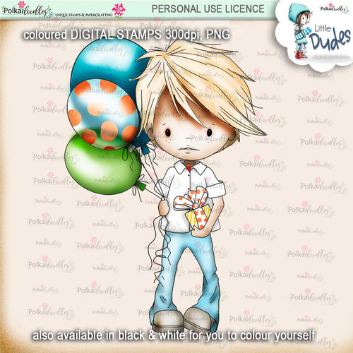 Party Little Dude  - PRECOLOURED - Little Dudes digi stamp printable download