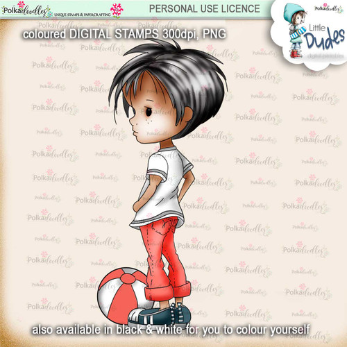 Play Ball 1 - PRECOLOURED Little Dudes digi stamp printable download