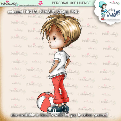 Play Ball 4 - PRECOLOURED Little Dudes digi stamp printable download