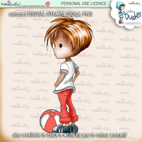 Play Ball 5 - PRECOLOURED Little Dudes digi stamp printable download