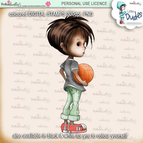 Basketball 1 - PRECOLOURED Little Dudes digi stamp printable download