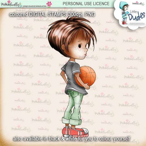 Basketball 2 - PRECOLOURED Little Dudes digi stamp printable download