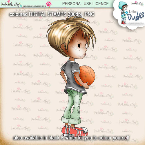 Basketball 3 - PRECOLOURED Little Dudes digi stamp printable download