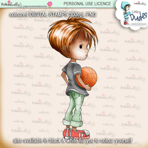 Basketball 4 - PRECOLOURED Little Dudes digi stamp printable download