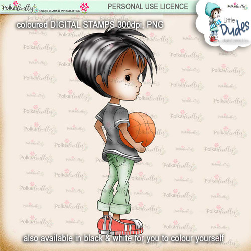 Basketball 5 - PRECOLOURED Little Dudes digi stamp printable download