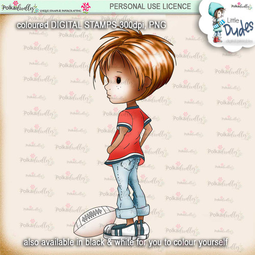 Rugby/Football 4 - PRECOLOURED - Little Dudes digi stamp printable download