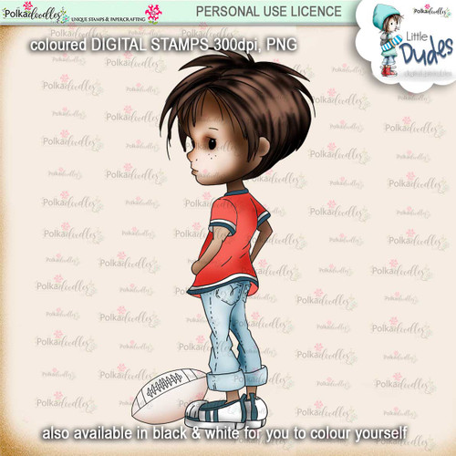 Rugby/Football 5 - PRECOLOURED - Little Dudes digi stamp printable download