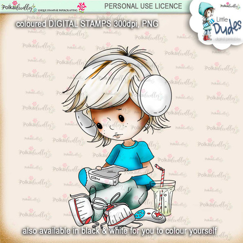 Gamer - PRECOLOURED - Little Dudes digi stamp printable download