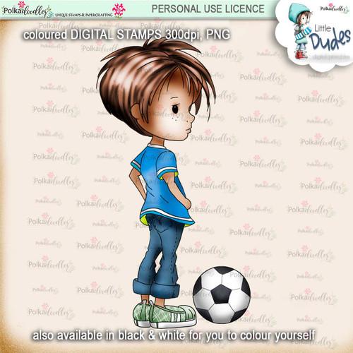 Football/Soccer - PRECOLOURED - Little Dudes digi stamp printable download