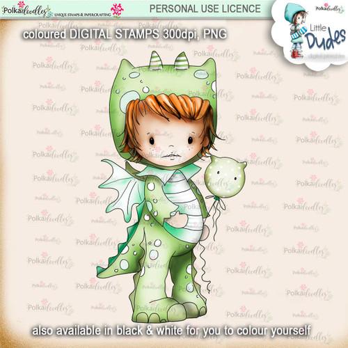 Dragon Onesie -PRECOLOURED - Little Dudes digi stamp printable download