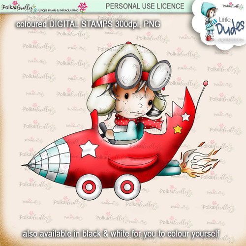 Rocket Car -PRECOLOURED- Little Dudes digi stamp printable download