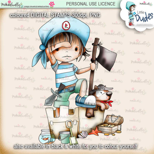 Pirate - PRECOLOURED - Little Dudes digi stamp printable download