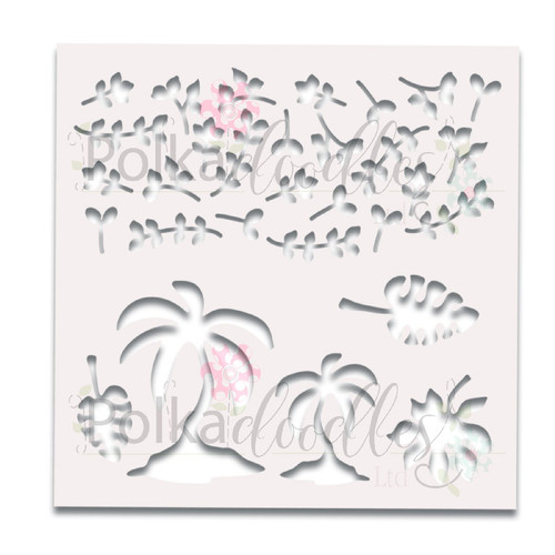 "Tropical Foliage Great Outdoors 6 x 6"" laser cut stencil"