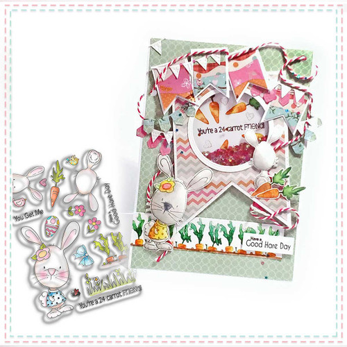 24 Carrot Friend Bunny Rabbit Clear Stamp set