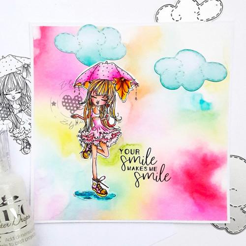 Ruby Raindrop Umbrella - precoloured digi stamp download