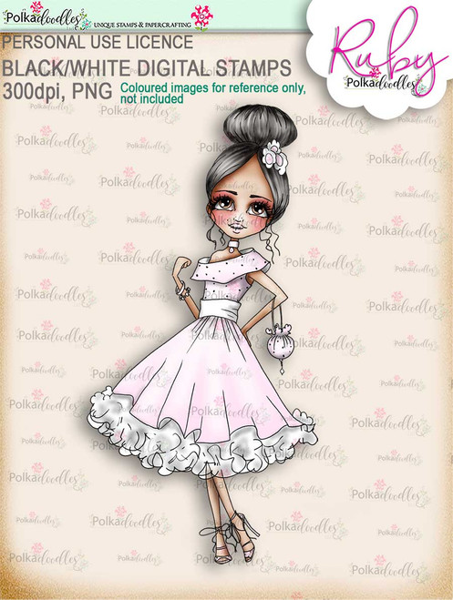 Ruby Prom - precoloured digi stamp download