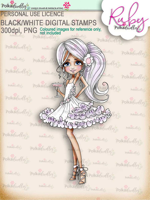 Ruby Party Girl - precoloured digi stamp download