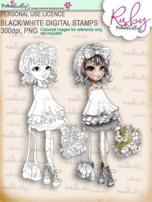 Ruby Flowers - black/white digi stamp download
