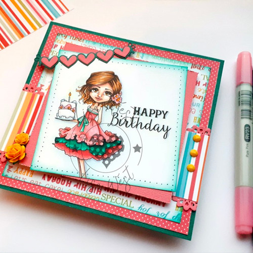 Ruby birthday cake - precoloured digi stamp download