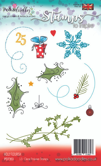 Holly Flourish Stamp Set - 13 Clear Stamps