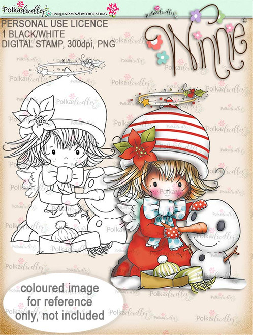 Snowman - Winnie Angel digital stamp download printable