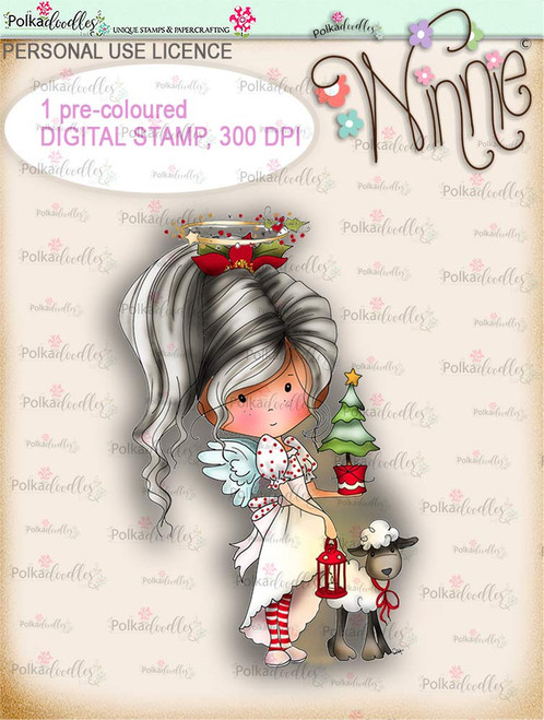 Little Tree - COLOUR Winnie Angel digital stamp download