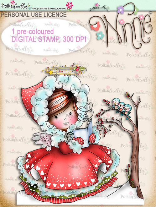Woodland Songtime - COLOUR Winnie Angel digital stamp download