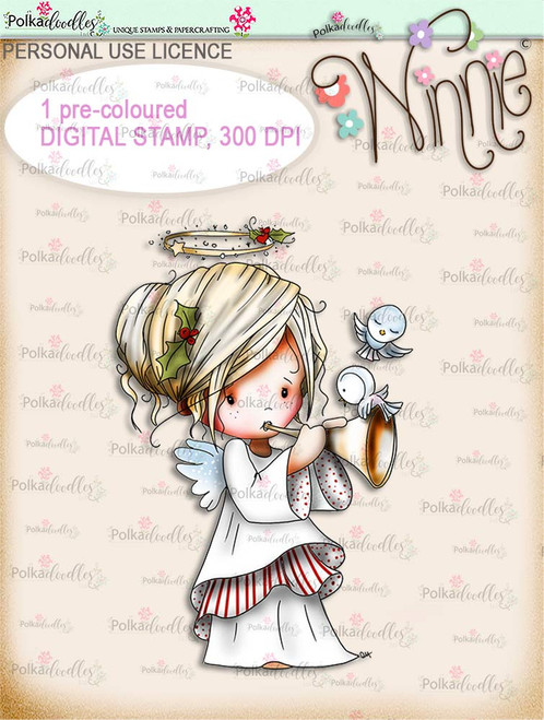 Tweet Sounds - COLOUR Winnie Angel digital stamp download