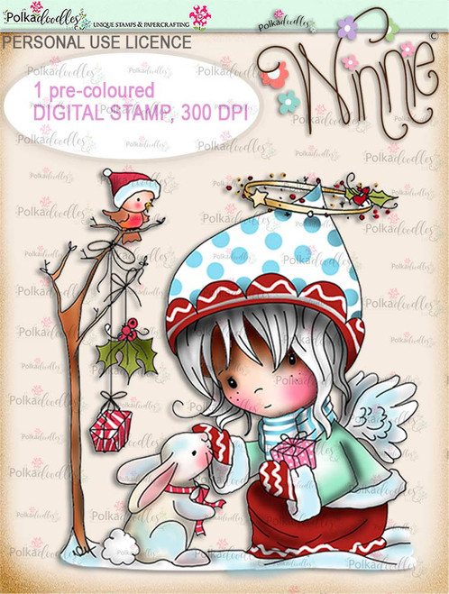 Gift of Christmas - COLOUR Winnie Angel digital stamp download