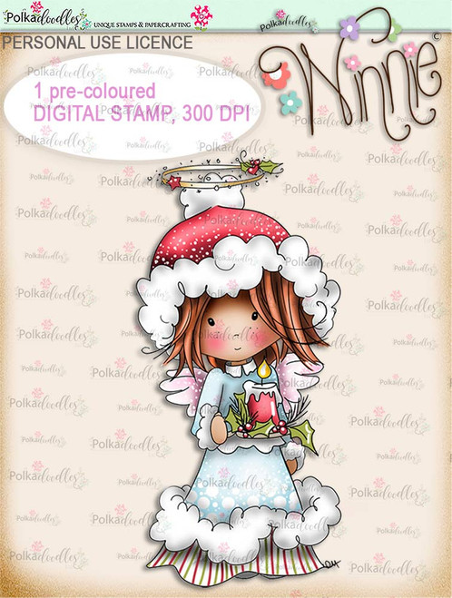 Light up Christmas - COLOUR Winnie Angel digital stamp download