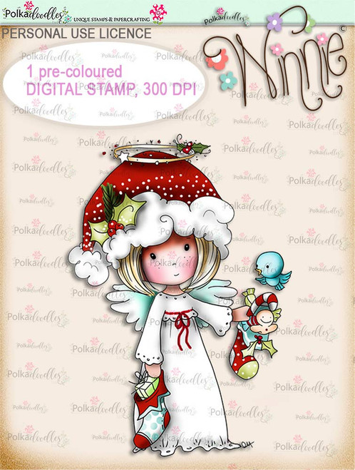 Stockings up - COLOUR Winnie Angel digital stamp download