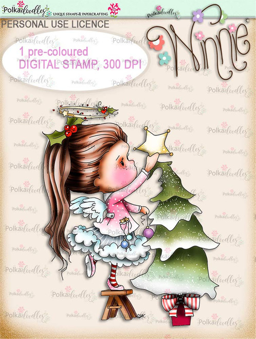 Decorations up - COLOUR Winnie Angel digital stamp download