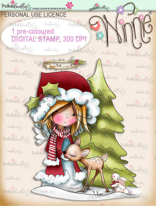 Forest Friends - COLOUR Winnie Angel digital stamp download