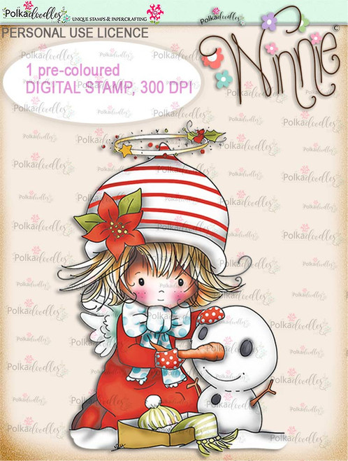 Snowman - COLOUR Winnie Angel digital stamp download printable