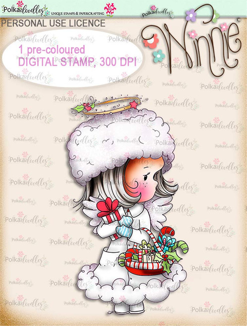 Delivering Candy - COLOUR Winnie Angel digital stamp download