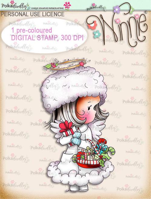 Delivering Candy - COLOUR Winnie Angel digital stamp download