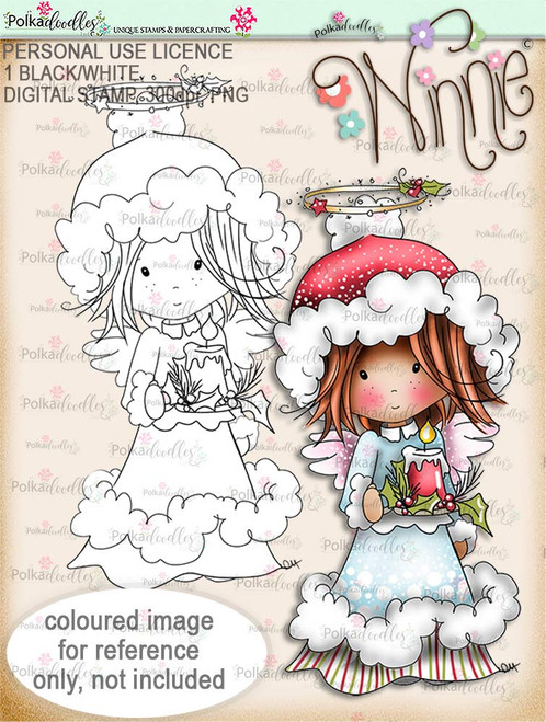 Light up Christmas - Winnie Angel digital stamp download
