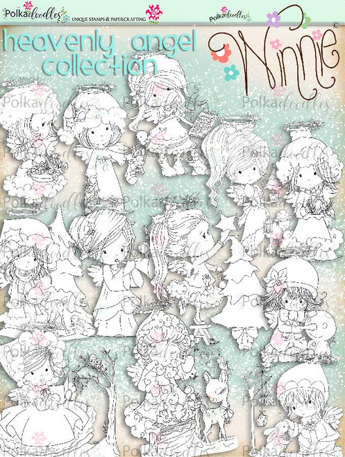 Big Kahuna Winnie Angel digi stamp printables download bundle