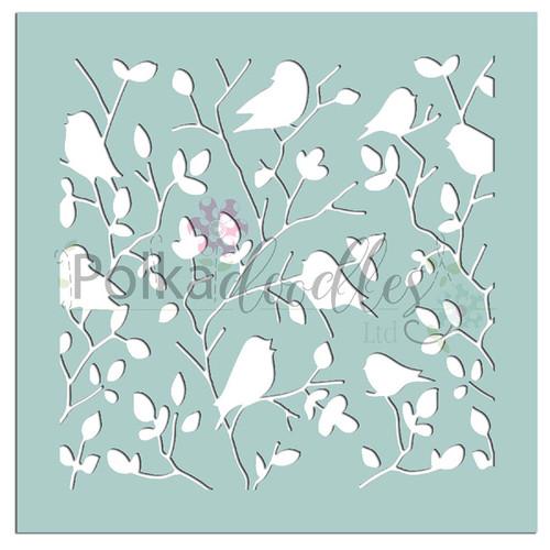 "Tweet Branches - 6 x 6"" creative craft mixed media stencil"